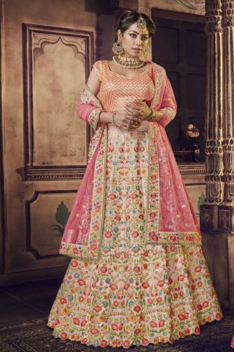 Pink Raw Silk Wedding Lehenga Choli - LENAKK5141