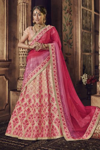 Pink Pure Raw Silk Wedding Lehenga Choli - LENAKK5150