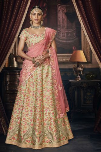 Beige Silk Embroidered Wedding Lehenga Choli - LENAKA5152