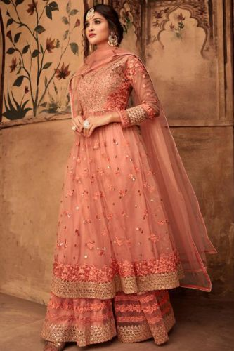 Alluring Peach Net Embroidered Sharara Suit - SKKARMA16006