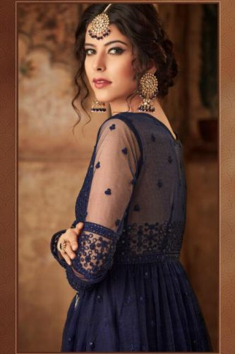 Heavenly Navy Blue Net Embroidered Sharara Suit - SKKARMA16008