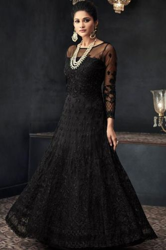 Black Hand Embroidered Floor Length Suit with Can-Can - SKMOHINI66003