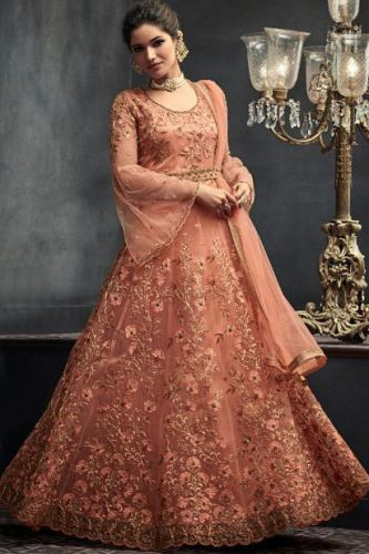 Peach Hand Embroidered Floor Length Suit with Can-Can - SKMOHINI66004