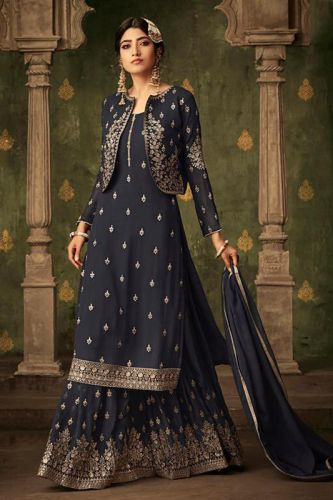 Designer Dark Grey Georgette A-Line Sharara Suit - SKMOHIN70002