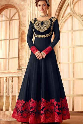 Gorgeous Navy Blue and Pink Floor Length Abaya Suit - SKHOTLDY7093