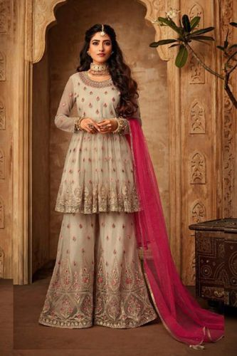 Off White Net Wedding Sharara Suit - SKMOHIN71002