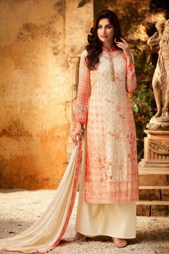 Peach Straight Cut Embroidered Palazzo Suit - SKHOTLA7172