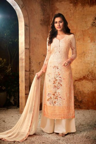 Peach Straight Cut Embroidered Palazzo Suit - SKHOTLA7176