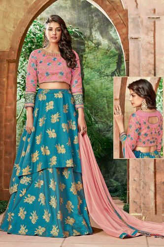 Turquoise Raw Silk Party Wear Lehenga Choli - LEMAHO77713