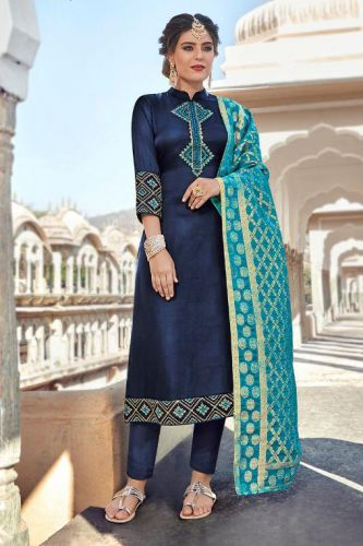 Navy Blue A-Line Satin Georgette Suit with Banarsi Silk Dupatta - SKMASKE7801