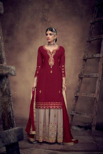 Maroon Georgette Embroidered Sharara Suit - SKSAJA8011