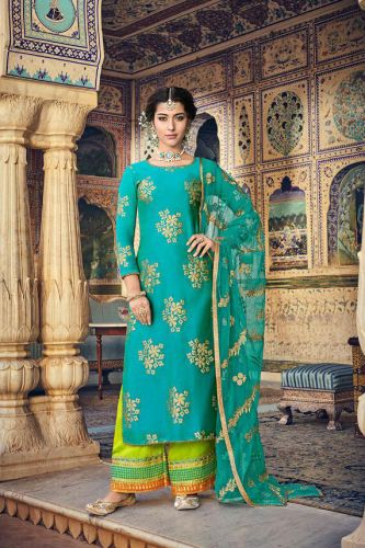Turquoise Chanderi Laser A-Line Palazzo Suit - SKMASK8103