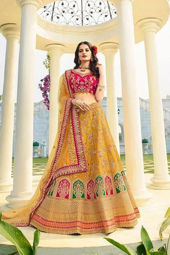 Mustard and Fuchsia Silk Zari Embroidered Lehenga Choli - LEROLO946