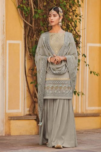 Grey Pure Silk Embroidered Sharara Salwar Suit - SKKIMORA053