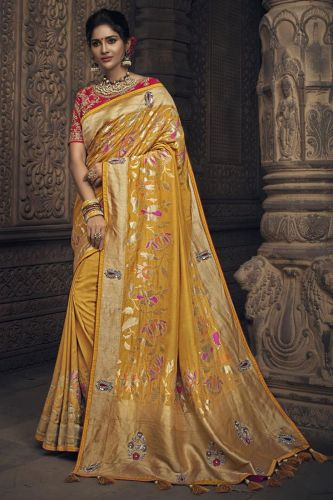 Yellow Embroidered Banarasi Art Silk Saree - SAMN4905
