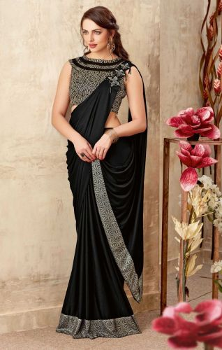 Black Lycra Ready to Wear Saree -SAMOHM5014