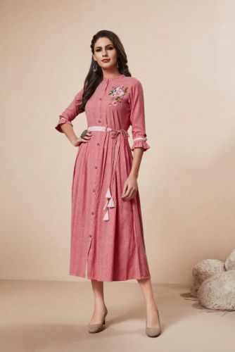 Pink Readymade Rayon Dress -DRNITYA102