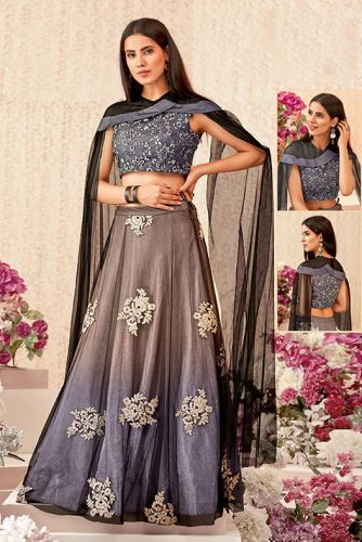 Grey Net Party Wear Lehenga Choli - LEMAHO16102A