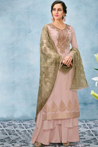 Asthetic Peach Beige Silk Embroidered Suit with Lucknowi Work Dupatta - SKKARMA8021
