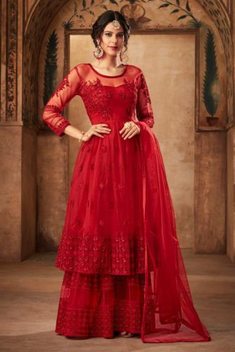 Amazing Red Net Embroidered Sharara Suit - SKKARMA16002