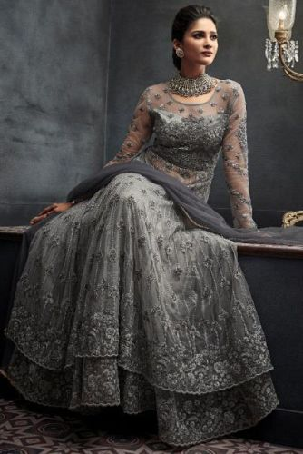 Grey Hand Embroidered Floor Length Suit with Can-Can - SKMOHINI66001
