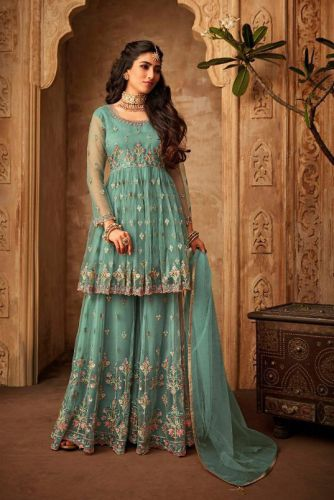 Turquoise Net Wedding Sharara Suit - SKMOHIN71001