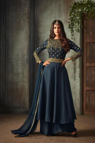 Navy Blue Silk Palazzo Embroidered Suit - SAMOHI72001