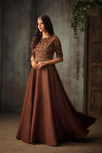 Brown Silk Gown Style Embroidered Suit - SAMOHI72003