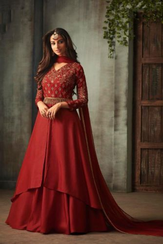 Red Silk Gown Style Embroidered Suit - SAMOHI72005