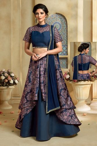 Navy Blue Silk & Net Party Wear Lehenga Choli - LEMAHO7622