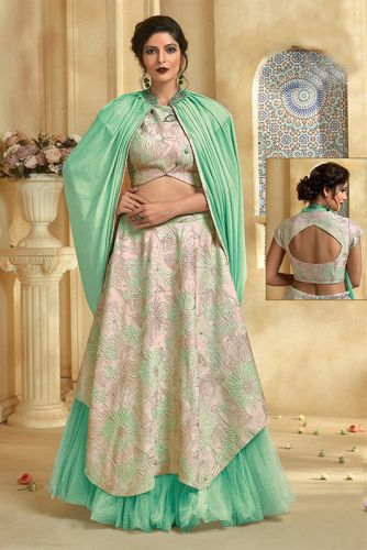 Sea Green Silk Party Wear Lehenga Choli - LEMAHO7623