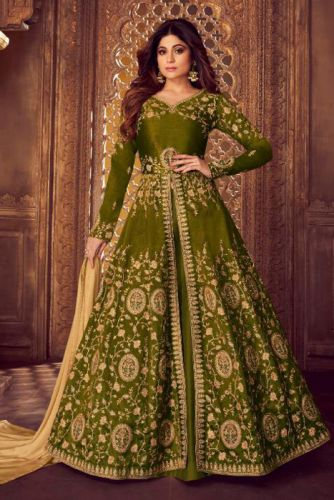 Shamita Shetty Mehendi Green Silk Anarkali Suit - SKAASHIR8221