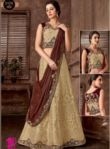 Golden And Brown Embroidered Designer Lehenga Saree - SAMAHO5106