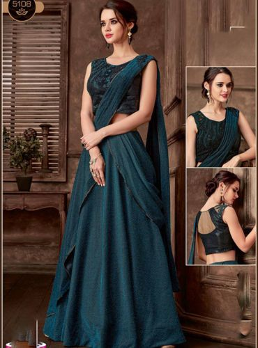 Teal Blue Satin Silk Designer Lehenga Saree - SAMAHO5108