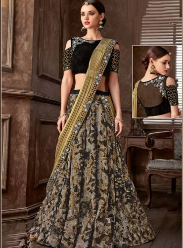 Black And Golden Embroidered Designer Lehenga Saree - SAMAHO5115