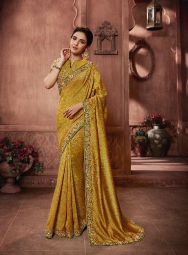 Jasmin Bhasin Yellow Silk Embroidered Saree - SATFH22203