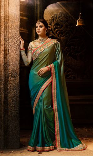 Peacock Blue & Green Color Designer Silk Saree - SAARDH1148