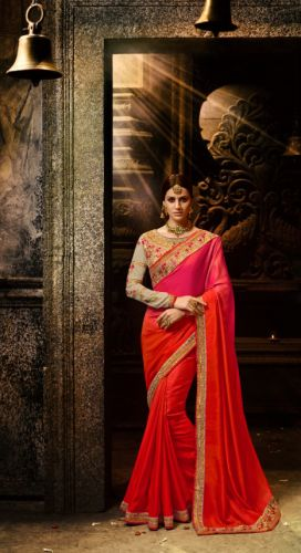 Orange & Rani Color Designer Silk Saree - SAARDH1151