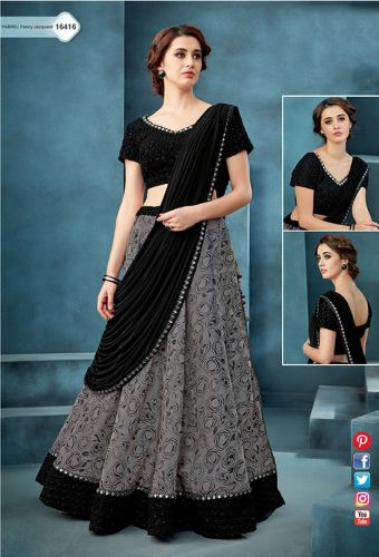 Black & Grey Jacquard Crop Top Lehenga Choli - LEMOHM16416