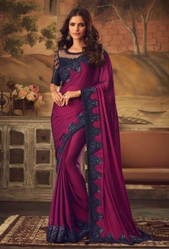 Designer Purple Kisna Silk Saree with Blouse - SASAFR5115