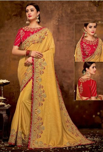 Designer Yellow Art Silk Heavy Border Saree with Blouse - SAMOHMAN5509