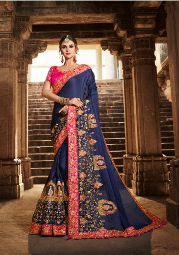 Blue Embroidered Crepe Saree - SABRIJ801