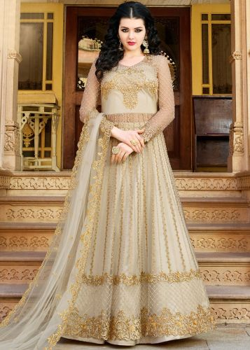 Designer Off White Embroidered Net Lehenga Style Suit - SKRAAZI10032