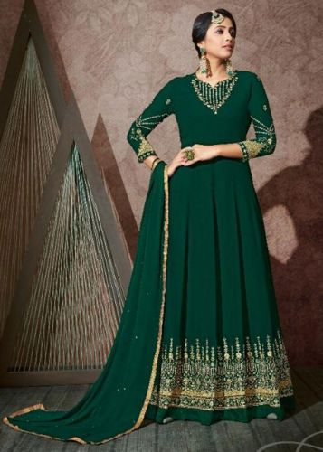 Bottle Green Georgette Anarkali Salwar Kameez -SKKARMA10606