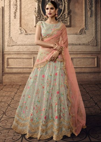 Grey Floral Embroidered Lehenga Choli - LEMAISH20005