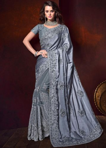 Grey Embroidered Heavy Border Saree with Blouse - SAMCR5106