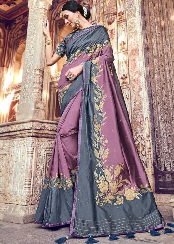 Grey And Purple Banarasi Silk Saree With Blouse - SAMN5204
