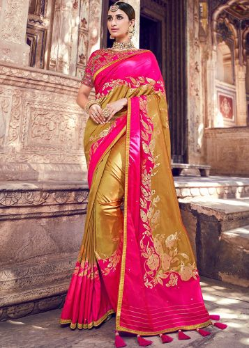 Yellow And PInk Banarasi Silk Saree  With Blouse - SAMN5206