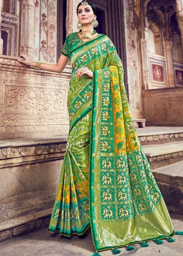 Green And Yellow Shaded Banarasi Silk Saree With Blouse - SAMN5210