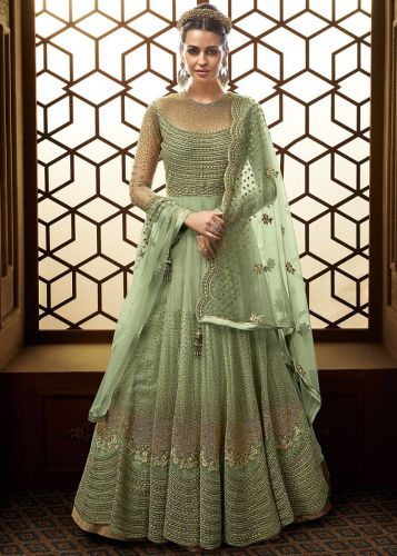 Pastel Green Net Embroidered Abaya Style Salwar Suit - SKGLOSS15007